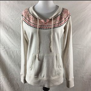 Lucky Brand boho beaded embroidered cream sweater